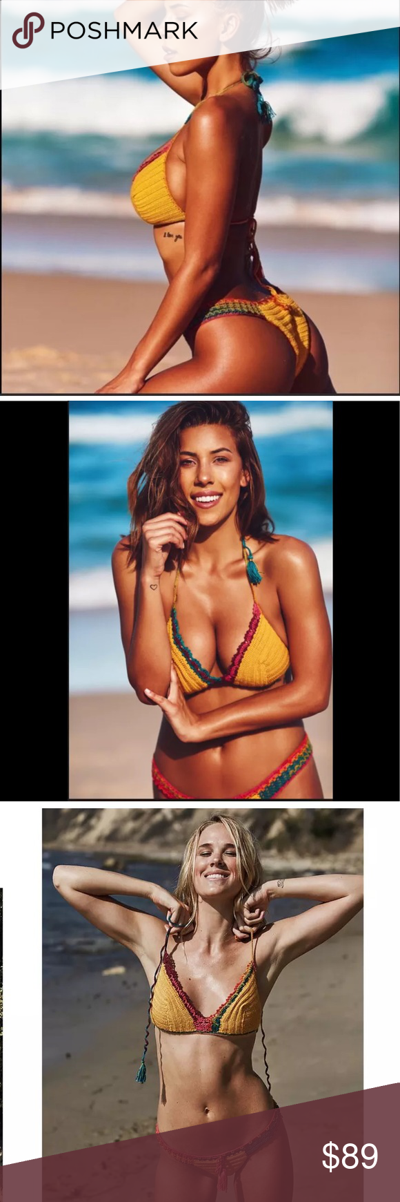$180 NWT Amore & Sovrete Crochet Bikini Set L 100% authentic new with tagsAmore & Sovrete Crochet Bikini Set. Unique and elegant handcrafted piece! You will get tons of compliments. Perfect to wear to the beach or to the cruise. Size is L.    Pet less and Smoke Free home! Please feel free to ask me any questions! Amore & Sovrete Swim Bikinis