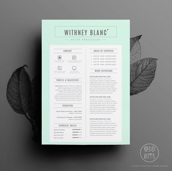 Resume Template \/ CV Template + Cover Letter for Word Instant - iwork pages resume templates