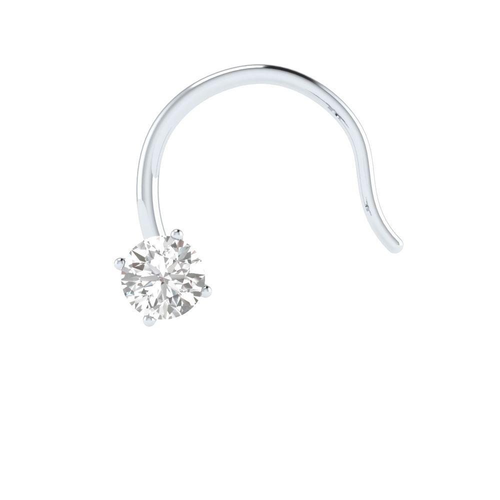 Corkscrew nose piercing  mm Round Real Diamond k Gold Engagement Nose Piercing Ring Pin