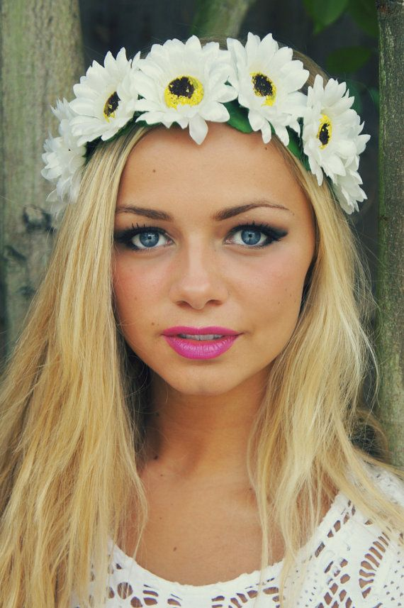 Statement Flowercrown oversized floral crown with adjustable satin ribbon ties