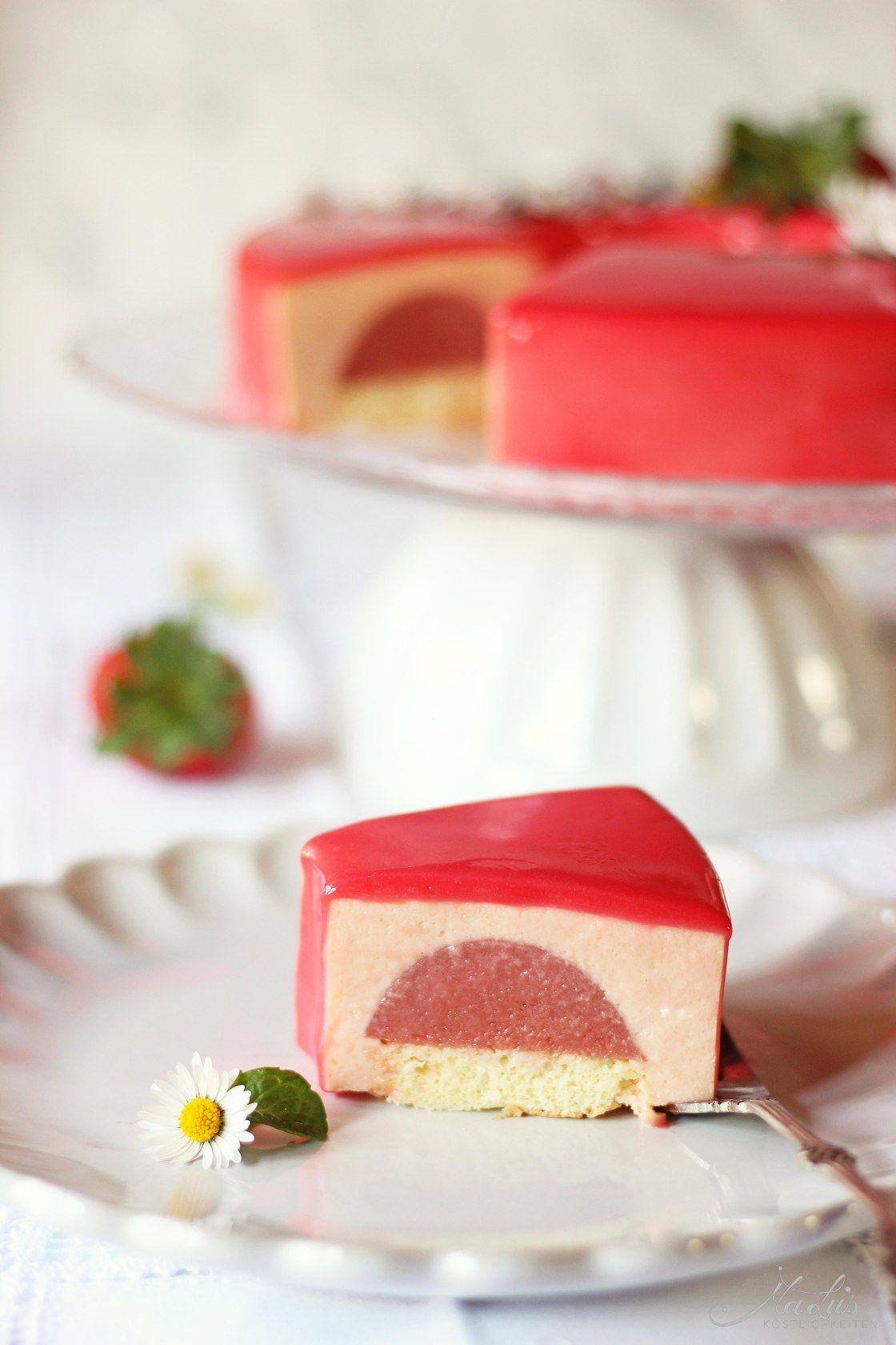Erdbeer Rhabarber Torte Kuchen Ohne Backen Herzhafte Kuchen Kuchen Ideen