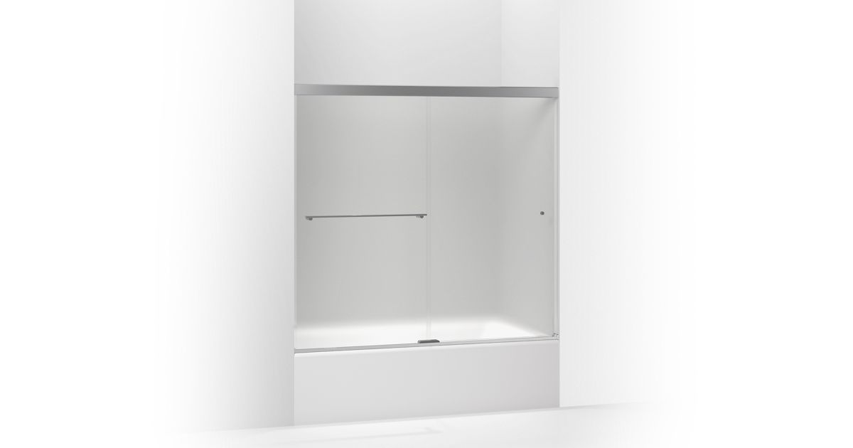 The K-707000-D3 door features Frosted glass and a contemporary frameless design. It has a 55-1/2-inch height and fits shower openings 56-5/8 to 59-5/8 inches wide.