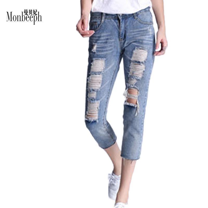 d9291e079e2 Ripped Jeans For Women Skinny Denim Capri Jeans Femme Stretch Plus Size  Female Jeans Vaqueros Mujer