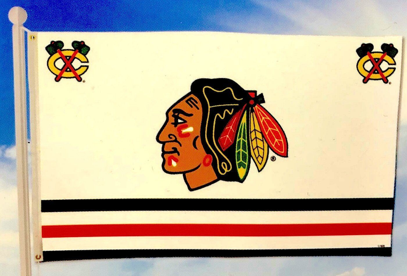 Chicago Blackhawks 3X5 Banner Flag Indian Head And Tomahawks By Rico ...