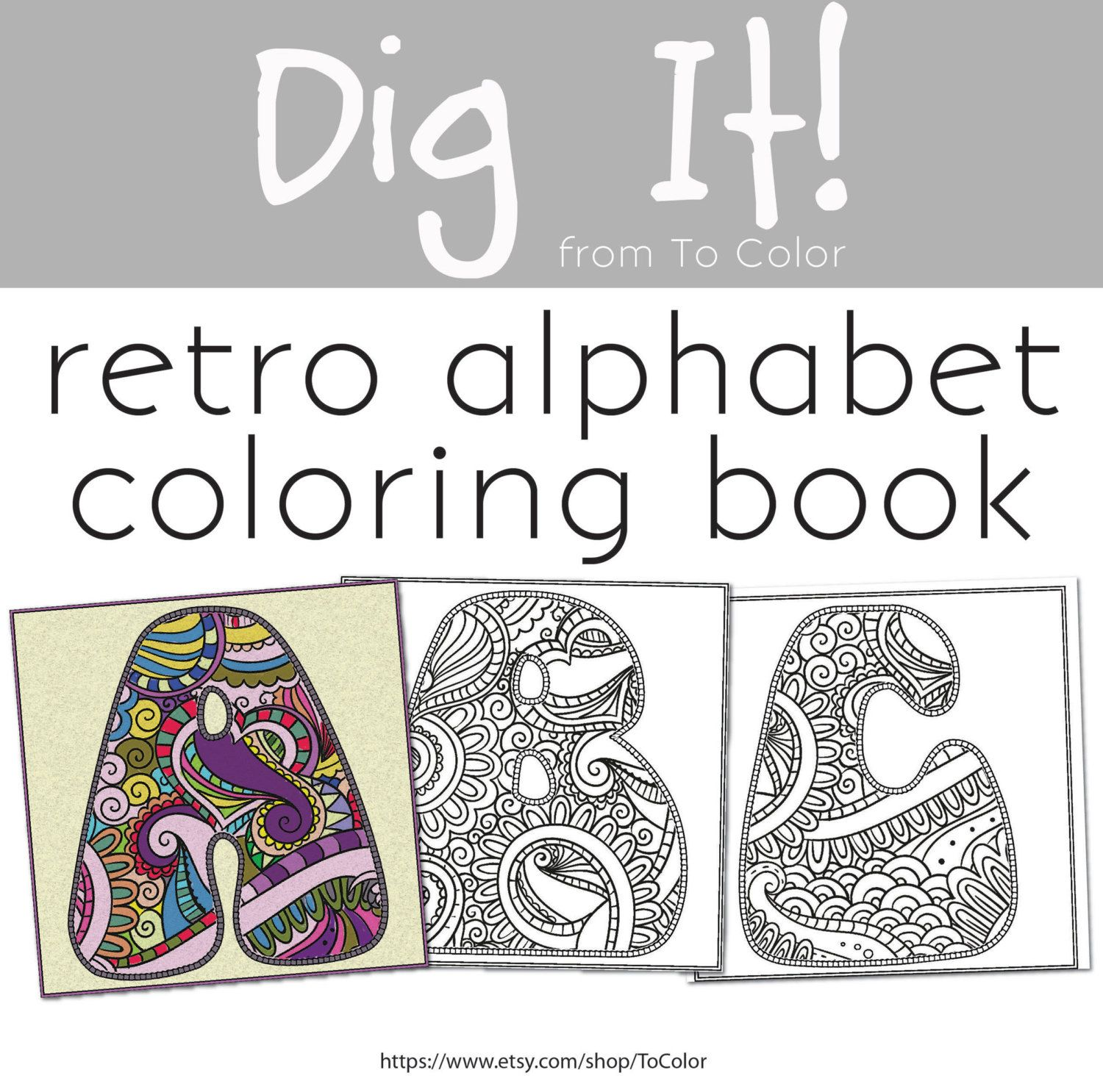 The coloring book e book - 70s Retro Alphabet Coloring Pdf Ebook 26 Coloring Pages Instant Download Coloring Book Coloring Page Grown Ups Digital Stamp