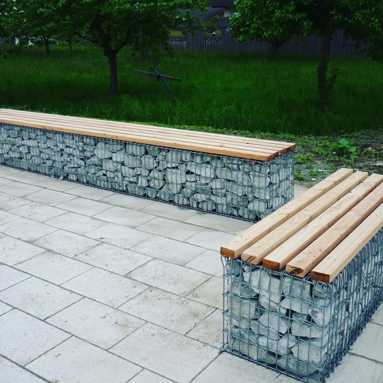 Garden Bench Made Of Gabion Baskets Gabion Wall Design Backyard Decor Garden Seating