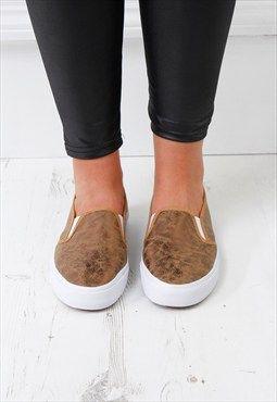 Womens ladies bronze flat white sole sneaker pump shoes