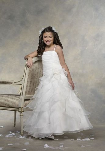Organza square neckline rouched bodice A-line style flower girl dresses