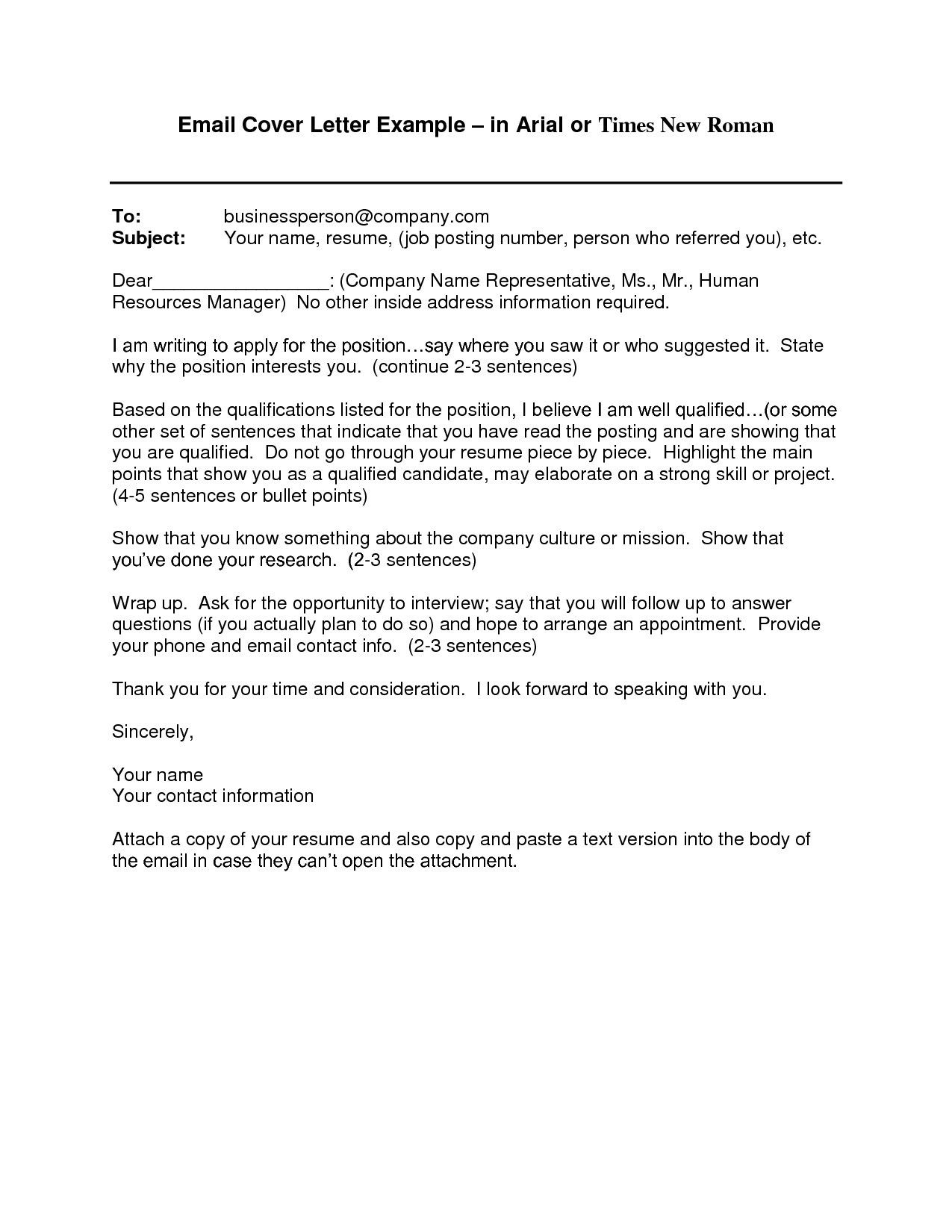 Cover Letter Template Via Email Resume Format Job
