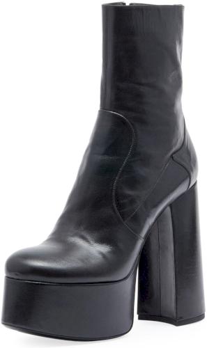 9f5947ddb6 Billy Kangaroo Leather Platform Boot Saint Laurent Billy kangaroo leather  mid-calf boot. Covered chunky heel with statement platform; 3.5 equiv.  Round toe.