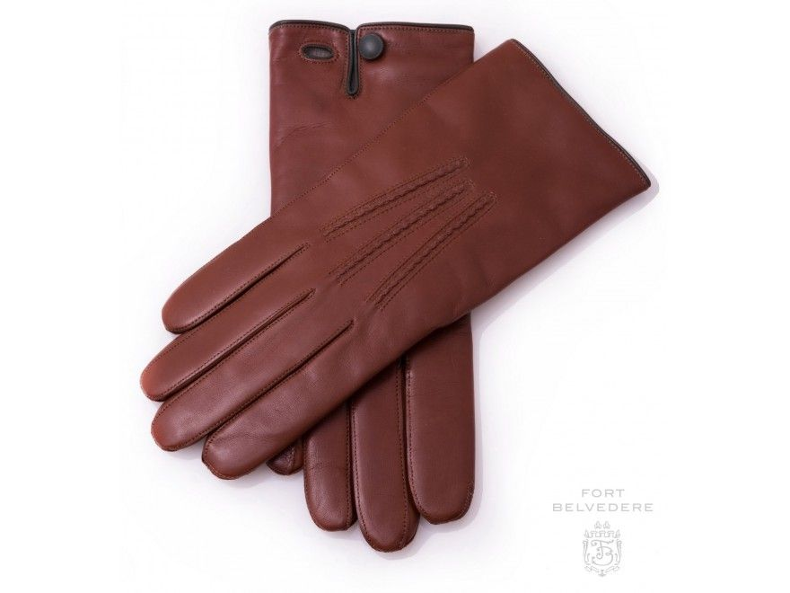 0fa950bc58144 Classic Cognac Brown Men's Gloves in Lamb Nappa Leather with Cashmere  Lining by Fort Belvedere