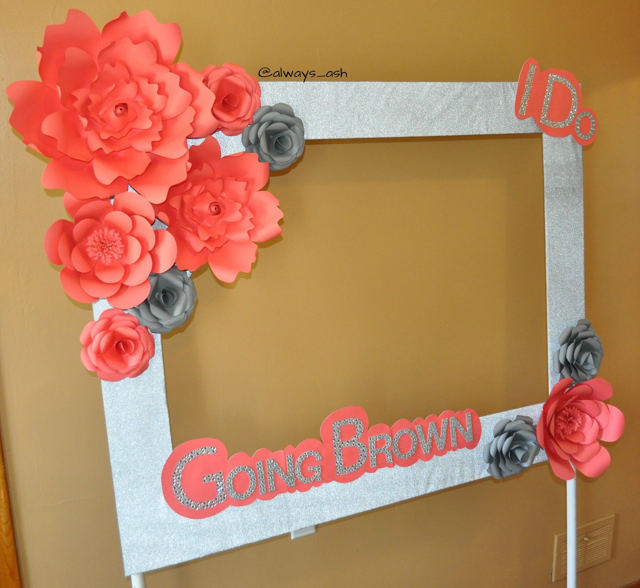 photo booth frame with paper flowers made by me. Black Bedroom Furniture Sets. Home Design Ideas