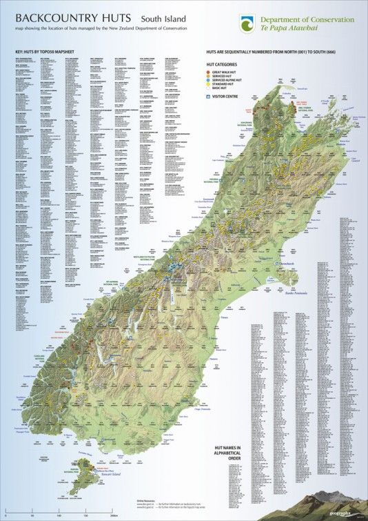 New Zealand Interactive Map.Doc S Map Of Backcountry Huts On The South Island Nz Hiking In