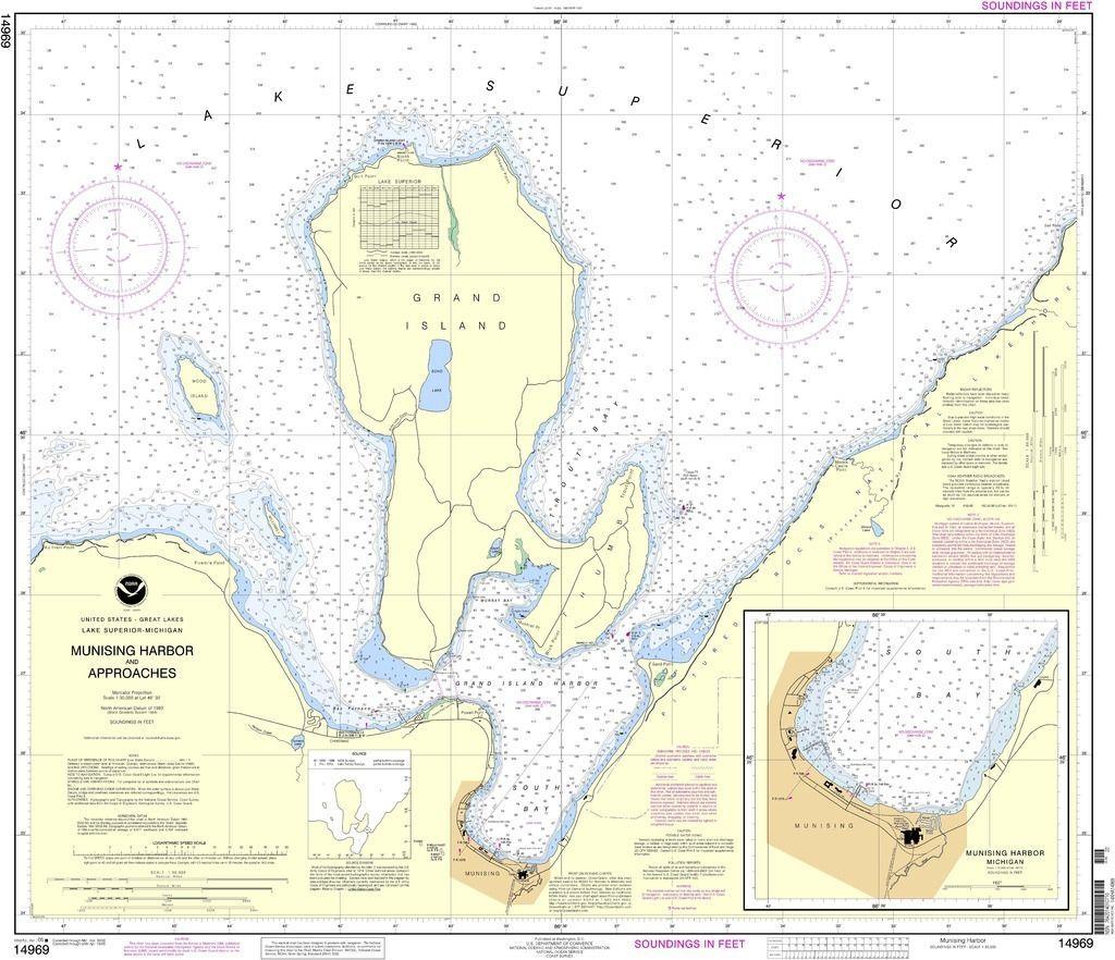 Noaa Nautical Chart 14969 Munising Harbor And Approaches Munising Harbor Nautical Chart Munising Noaa