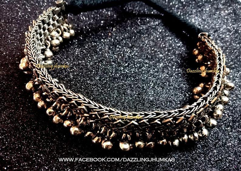 Indian choker jewelry-Bollywood jewelry-Rajasthani jewelry with silver balls-German silver necklace-Boho jewelry-Tribal Oxidised necklace