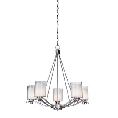 Latitude Run Haverville 5 Light Candle-Style Chandelier Finish: Polished Nickel