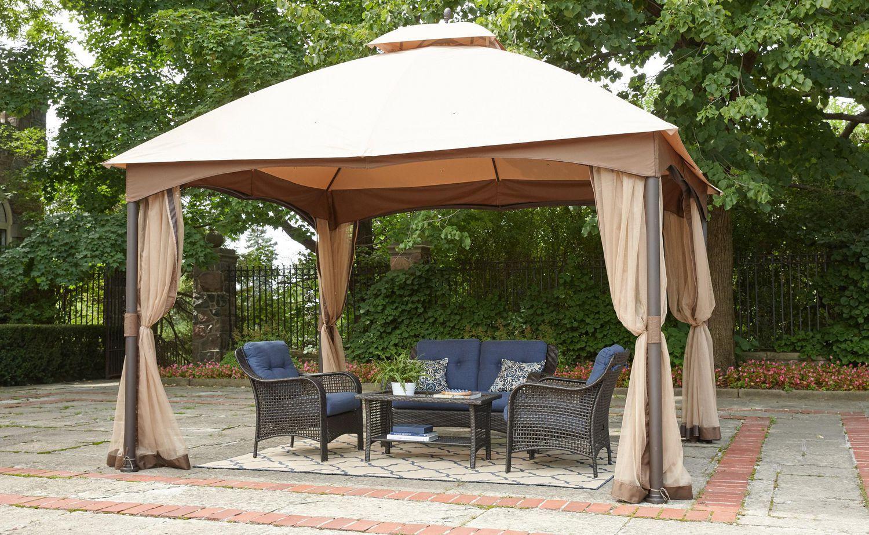 Hometrends Tuscany 10 Ft X 12 Ft Fabric Top Gazebo Walmart Canada In 2020 Gazebo Tuscany Curb Appeal