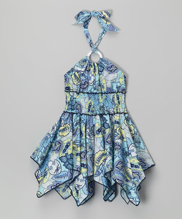Look at this Blue Retro Floral Handkerchief Halter Dress - Toddler & Girls on #zulily today!