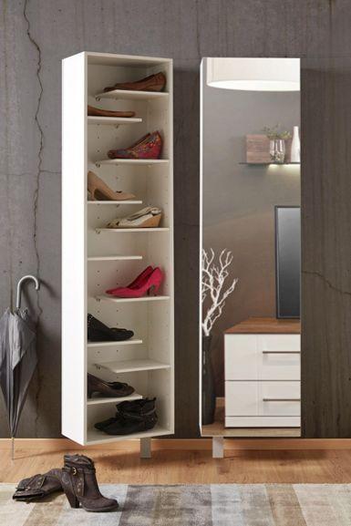 Schuhschrank in Weiß mit Drehfunktion | Schuhschränke, Spiegeltür ...