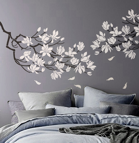 Stencil - Magnolia Flower Branch - Large Branch Stencil For Walls