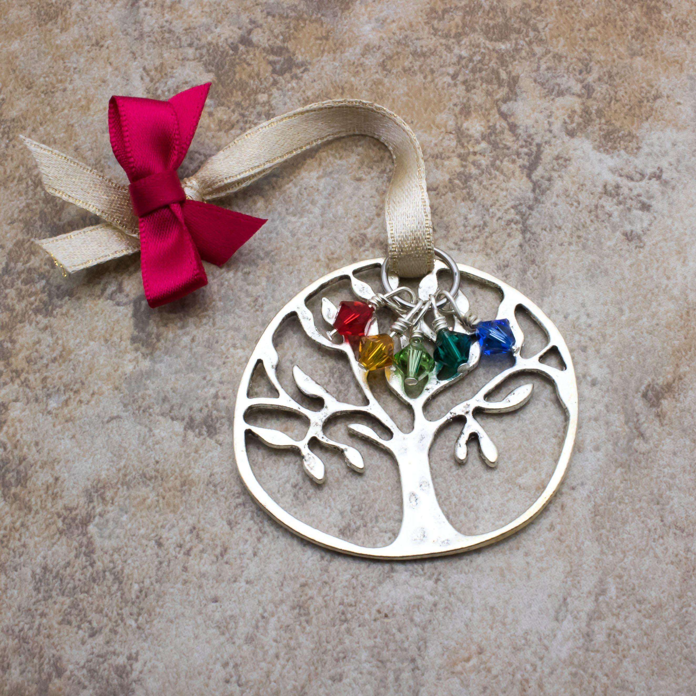 Personalized Christmas Tree /& Birthstone Charm Silver Aluminum Handmade Ornament