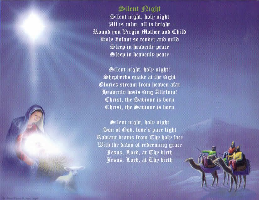 Silent Night, this is a image of the lyrics (words) of the christmas carol silent night ...