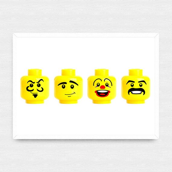 Lego Wall Art, Lego Prints 2, Customized Lego Head Printables ...