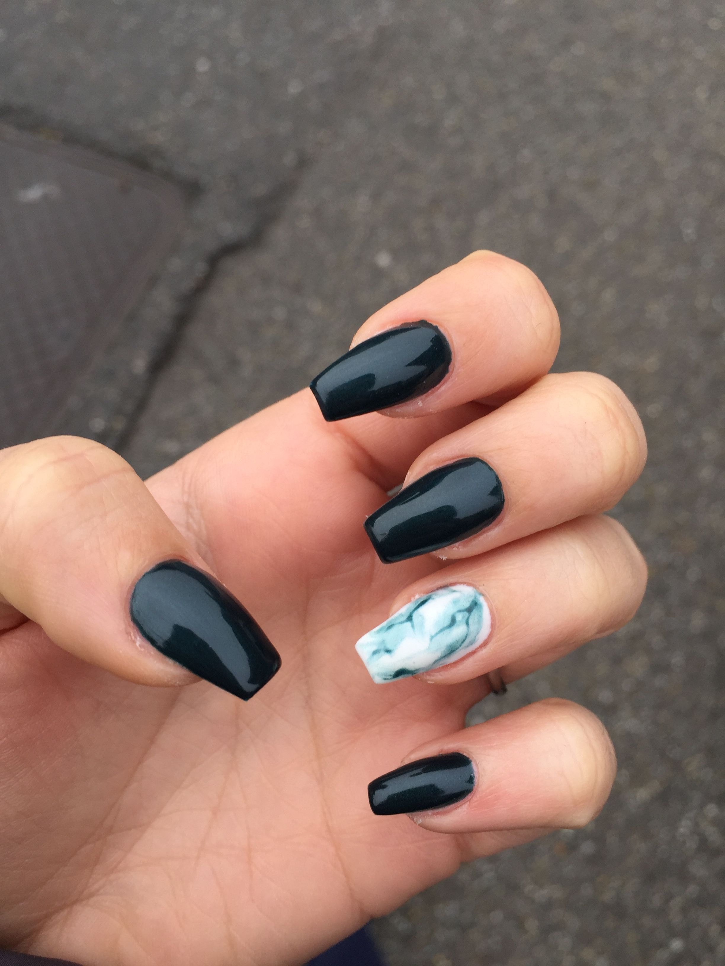 Black And Marble Coffin Shaped Chorme Nails Coffin Shape Nails Unique Acrylic Nails