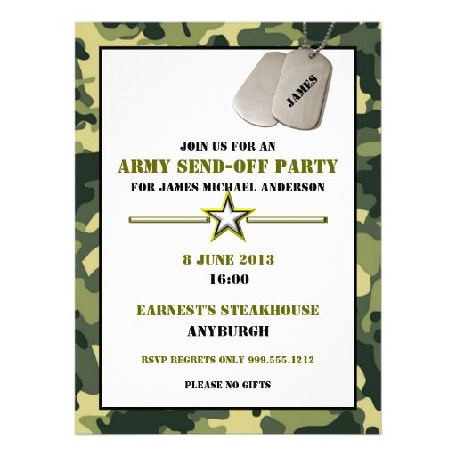 Custom Army SendOff Party Invitations – Send Party Invitations