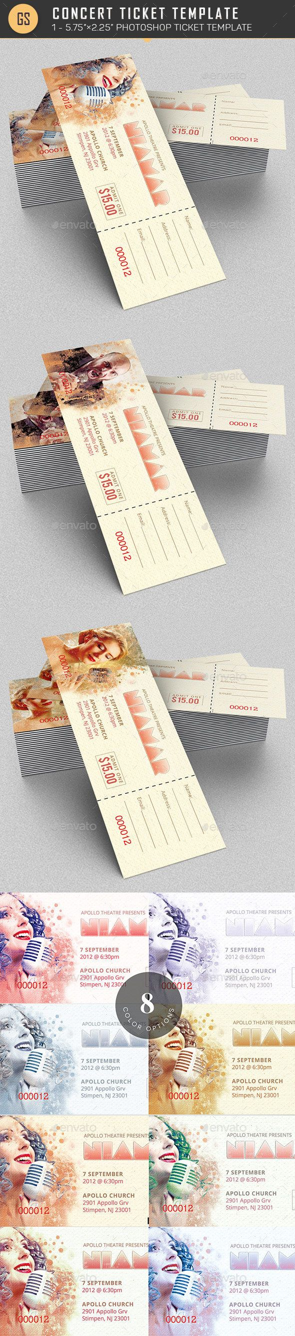 Concert Ticket Template  Concert Ticket Template Ticket Template
