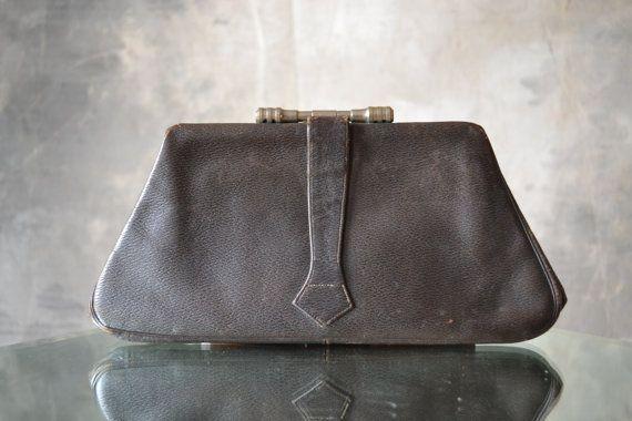 1920s Art Deco Dark Brown Clutch Bag HOLD SHARI | 1920s, Art and ...