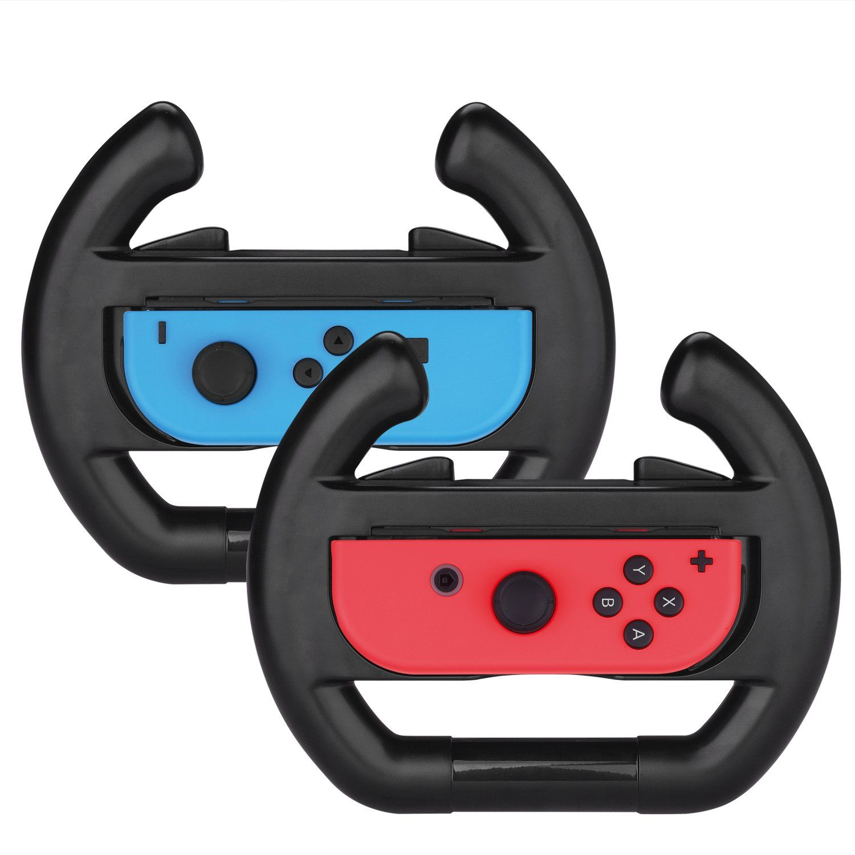 Myriann Nintendo Switch Joy Con Racing Wheel Set Of 2 Joy Con Steering Wheel Handle For Nintendo Switch Mario Kart 8 Black Nintendo Switch Accessories Nintendo Switch Nintendo