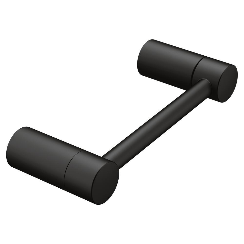 MOEN Align Pivoting Double Post Toilet Paper Holder in Matte Black