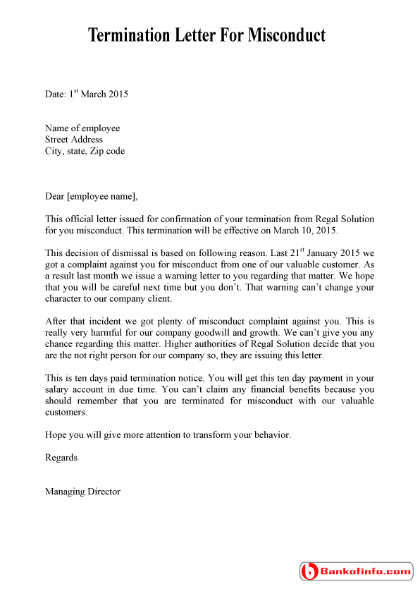 Dismissal Termination Letter For Misconduct Gross Template  Home