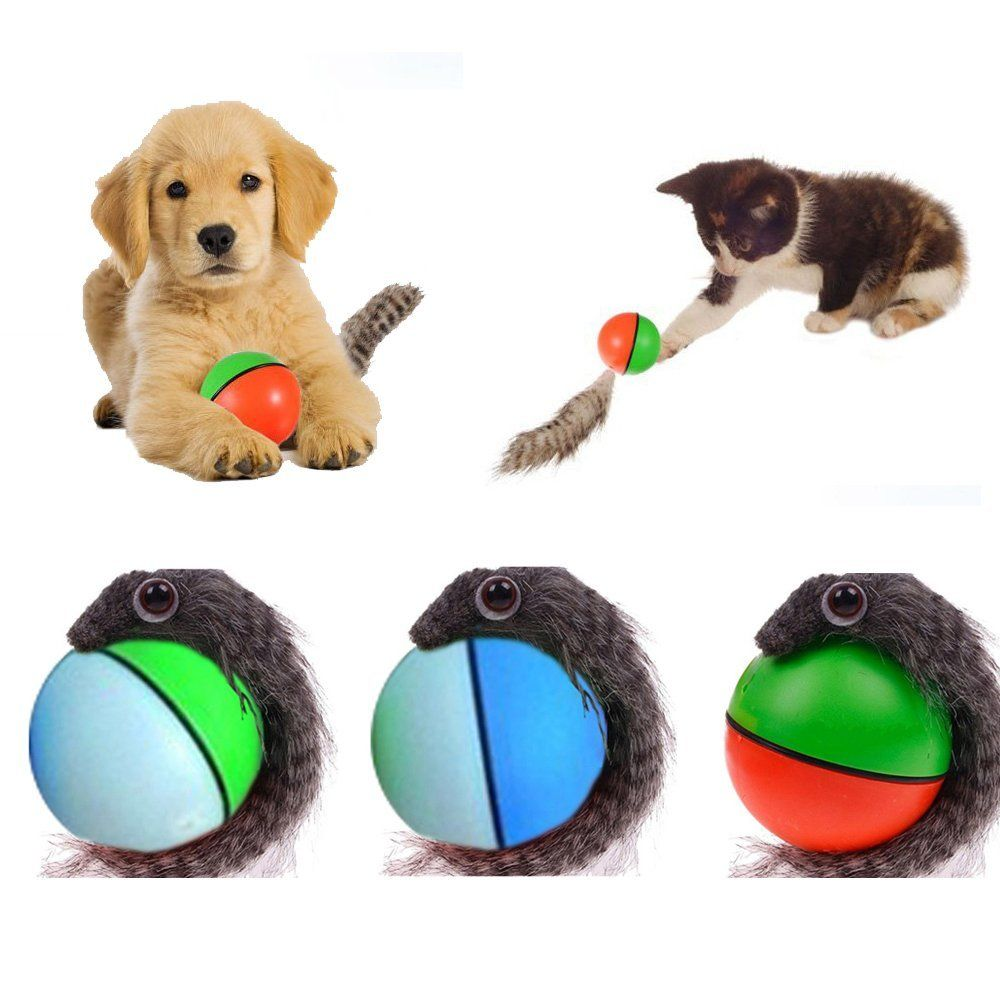 Yunt Pet Cat Dog Puppy Toy Rolling Jumping Crazy Weasel Chaser