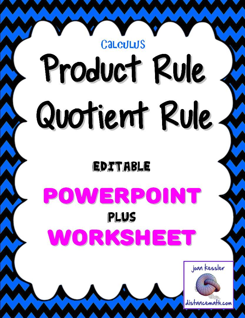 Calculus Derivatives Product Rule Quotient Rule PowerPoint plus – Product and Quotient Rule Worksheet