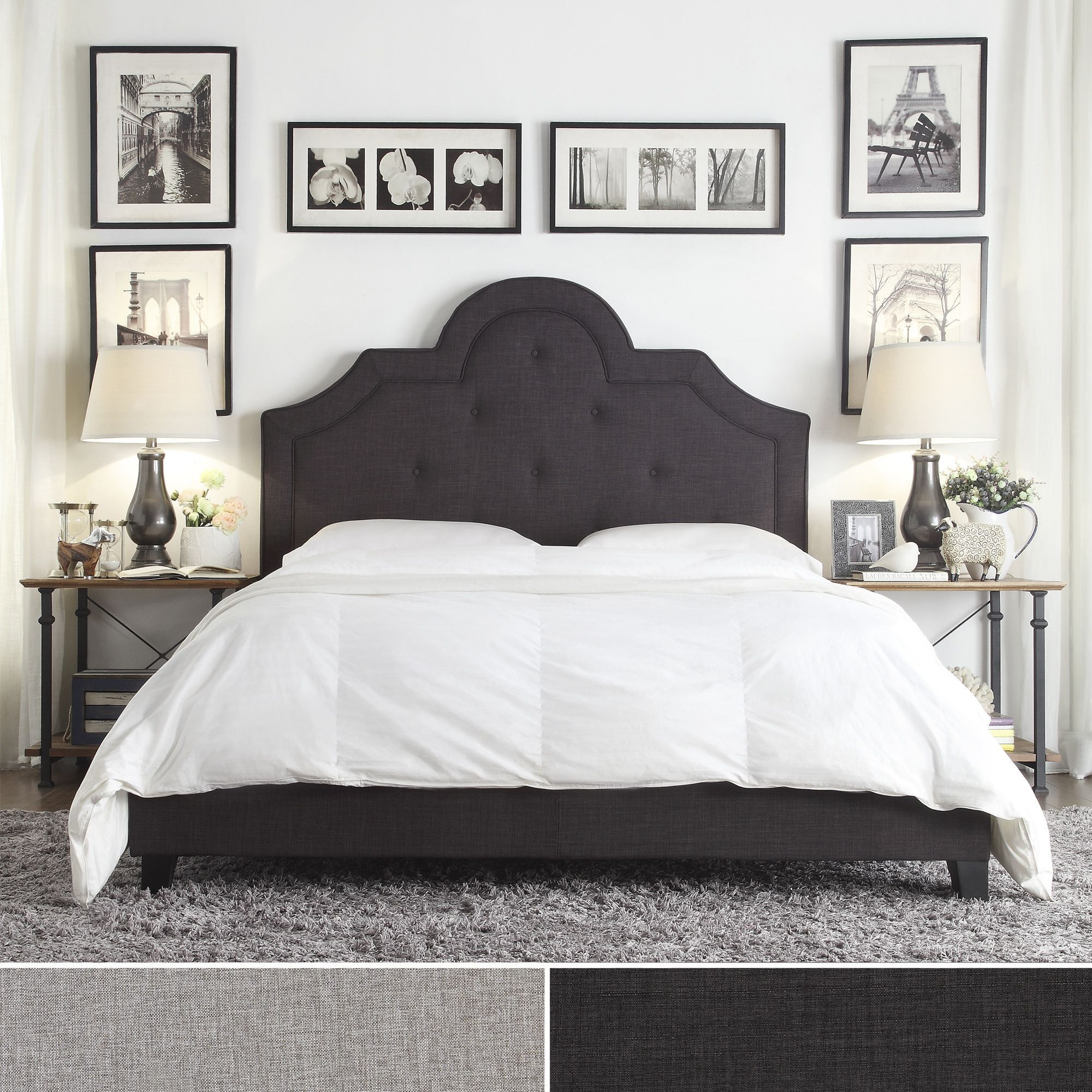 Inspire Q Harper Tufted High-arching Linen Upholstered Queen Bed (Platform  Bed-Dark