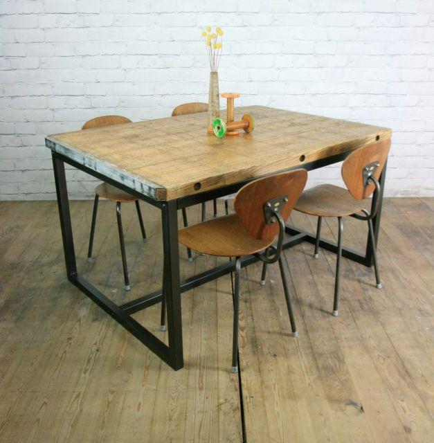 Vintage Industrial Brick Makers Steel Rustic Dining Table Loft Cafe Shop Retail