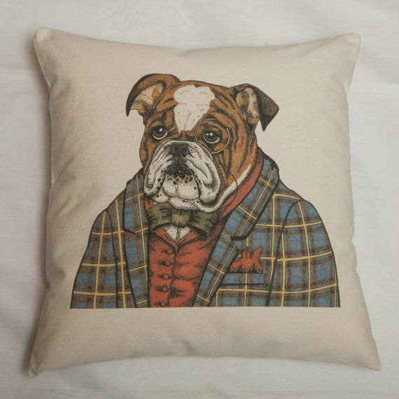 Exclusive Bull Dog Illustrated Cat Portrait Cushion by Amber Anderson for Kitty Greenway