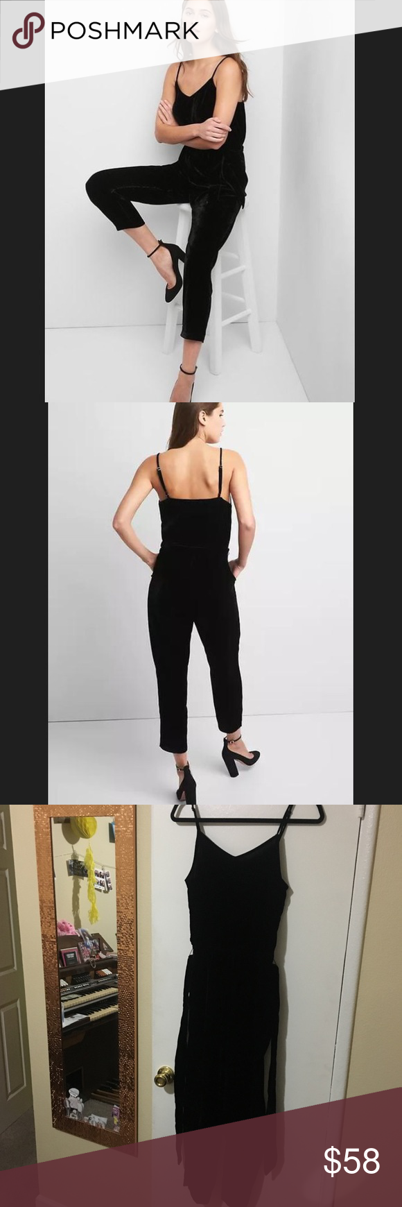 8bff54941fc GAP Black Velvet Jumpsuit OBO GAP Velvet Tie-Belt Jumpsuit in True Black.  Size