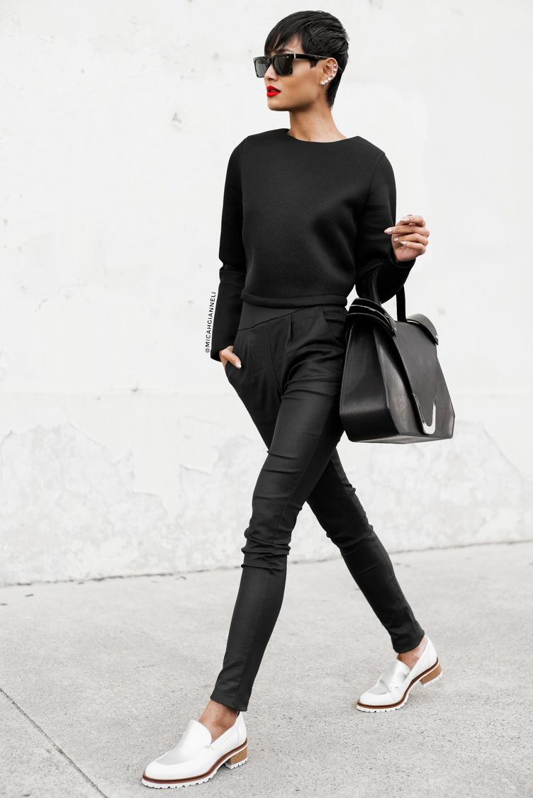 9e02315e0 I like the top & the idea of all black, but I would wear bootcut style  pants instead, Ray-ban sunglasses, black heels, & a different kind of black  purse