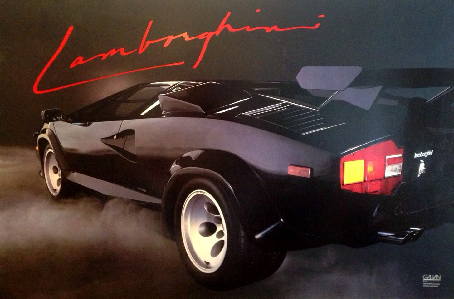 Original Poster 1986 Lamborghini Countach Retro 80s Design