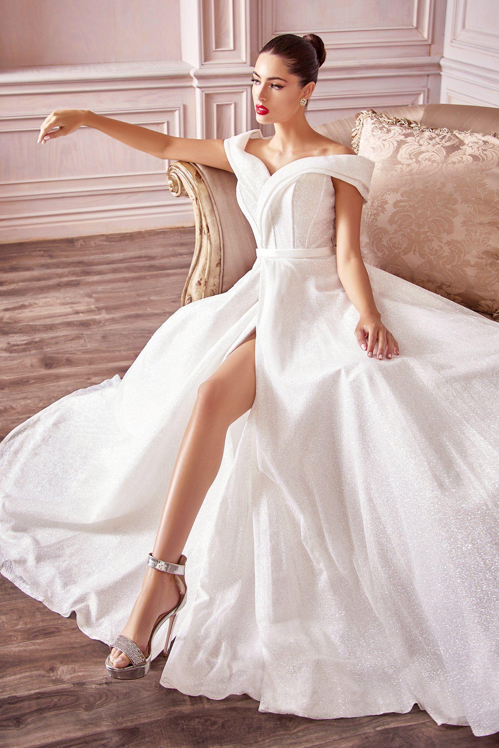 Robe de bal de mariée à paillettes par Cendrillon Divine CD214W – 10 / Blanc cassé   – Products