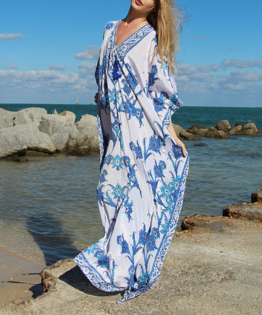 Look at this la moda clothing blue u white floral bloom capesleeve