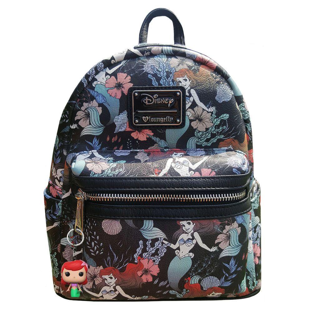 "Disney Princess Little Mermaid Ariel Backpack All over Print 12/"" Small Bag"