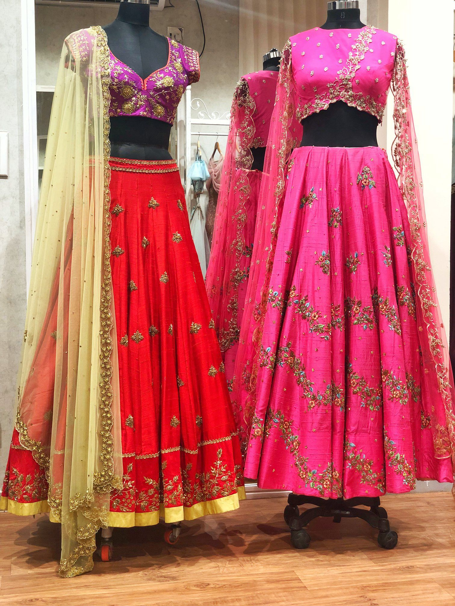 Wedding decorations yellow november 2018 Bridal Collection  Stunning pink and red color lehenga with hand