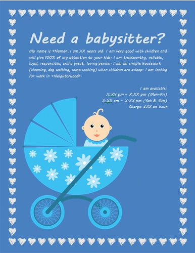 baby sitter leaflet with baby carriage
