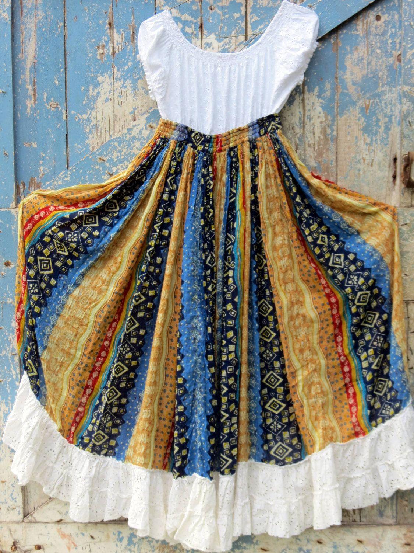 Haute Hippie Maxi Dress upcycled gypsy dress eco friendly bohemian maxi dress boho wedding party. $52.99, via Etsy.