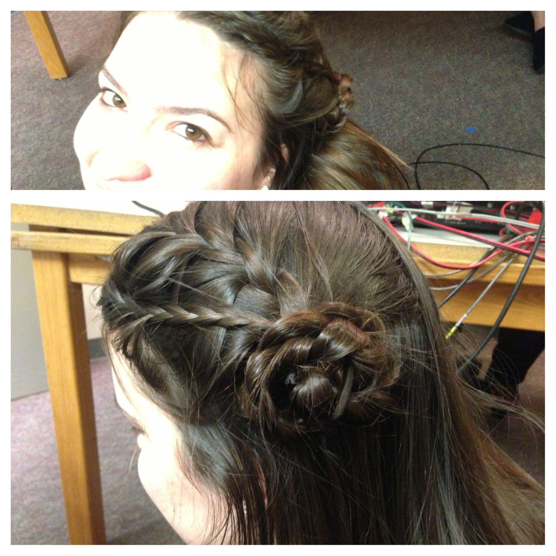 Double French braid side bun flower  Hair  Pinterest  Braided