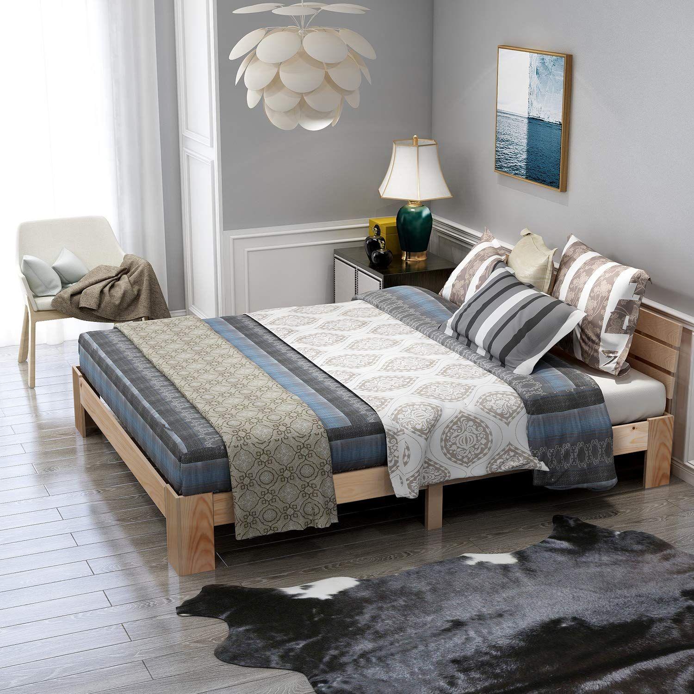 Modern Luxe Holzbett Doppelbett mit Kopfteil aus